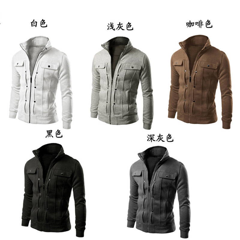 2016 Hot sales good Hoodies Men Sweatshirts Brand Moleton Masculina Spring Zipper Solid Fashion Fake Pocket Design Fleece Men