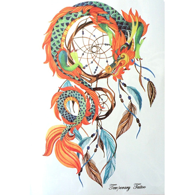 2016 NEW Fashion 21 X 15 CM Waterproof Hot Temporary Tattoo Stickers Dreamcatcher With Dragon