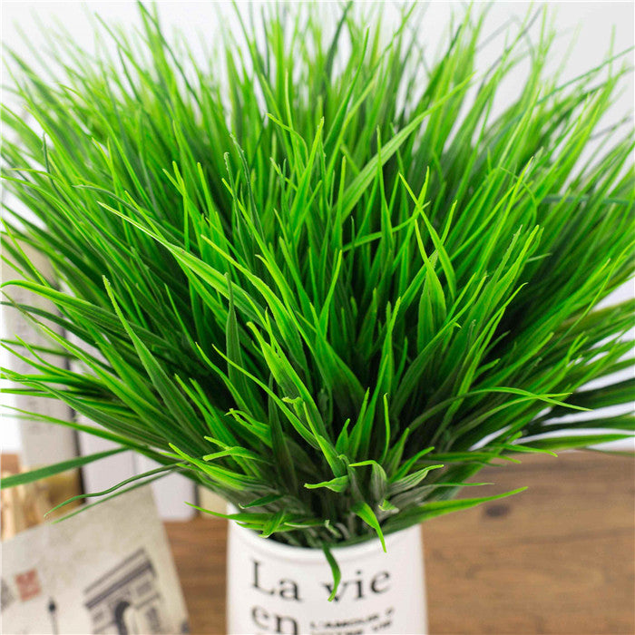 2016 New 7-fork Green Grass Artificial Plants For Plastic Flowers Household Store Dest Rustic Decoration Clover Plant Wholesale