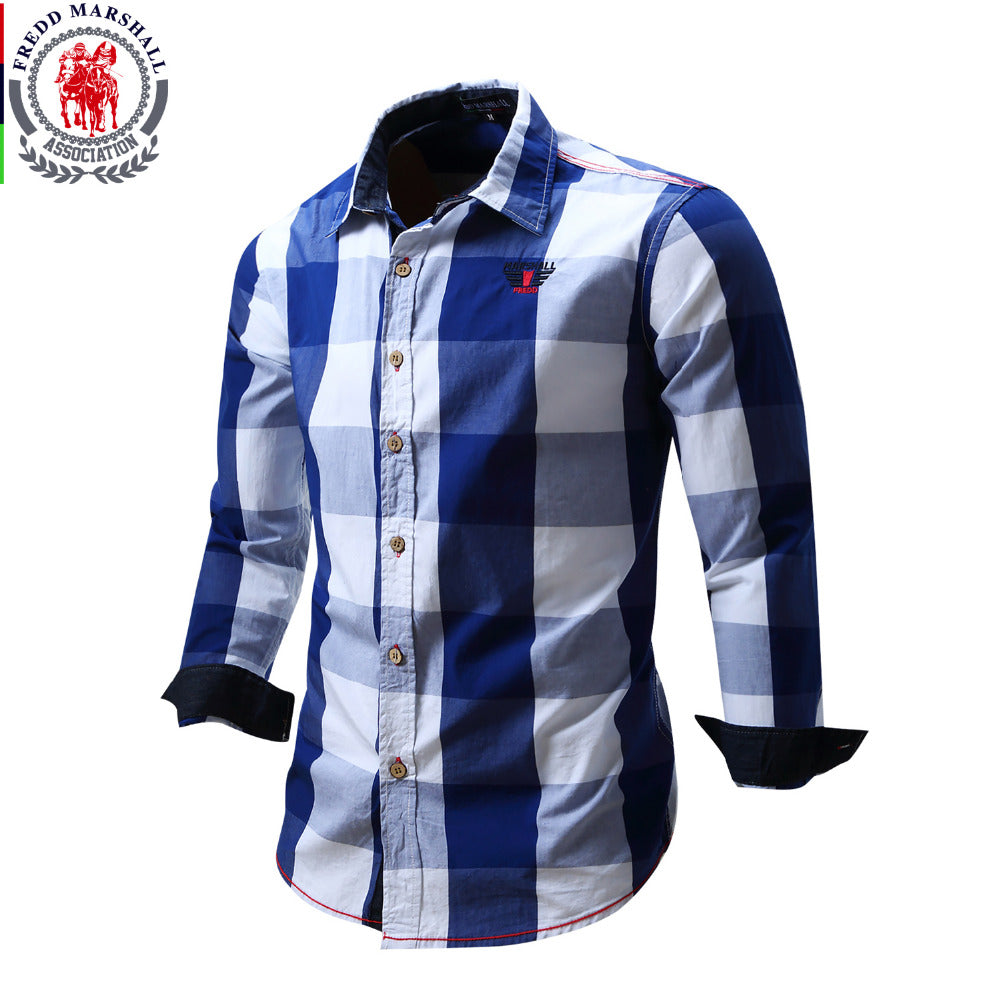 2016 New Arrival Men's shirt Long Sleeve Shirt Mens Dress Shirts Brand Casual Fashion Business Style Shirts 100% Cotton 064
