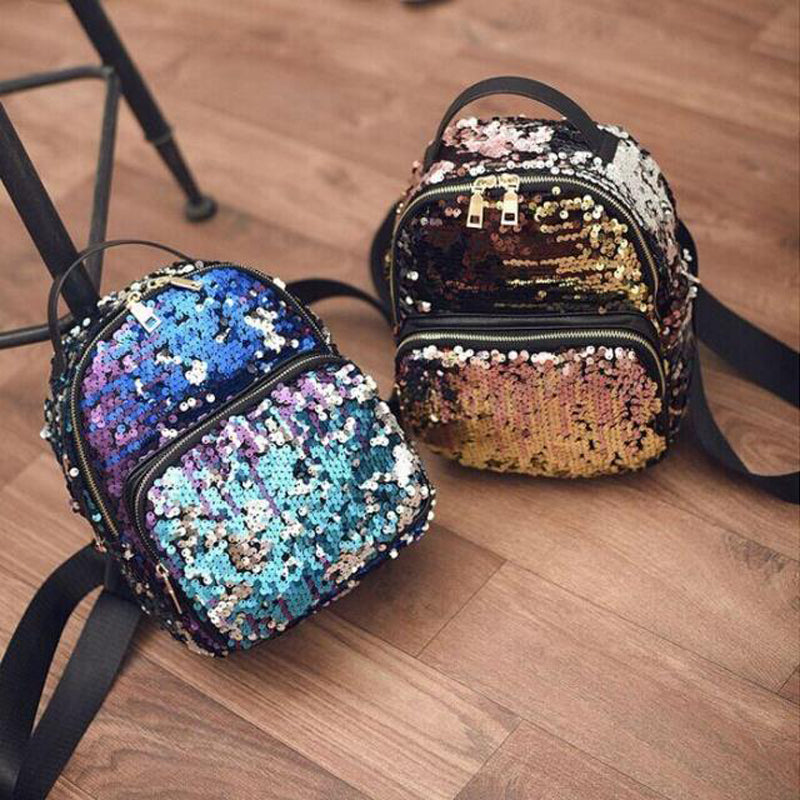 2016 New Arrival Women All-match Bag PU Leather Sequins Backpack Girls Small Travel Princess Bling Backpacks ZD215