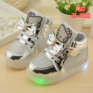 2016 New Autumn Children shoes Brand Hook Loop LED Shoes Lighted Kids Sneakers Children Led Sneakers Boys Girls Boots EU 21-30