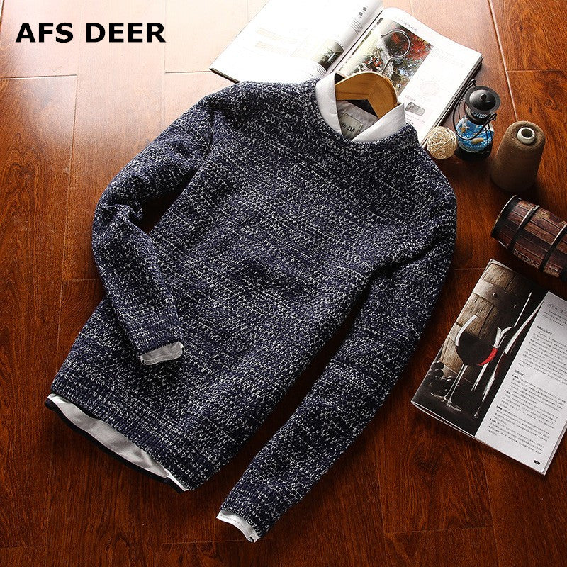2016 New Autumn & Winter Top Quality Solid O-neck Pullover Men Slim Fit Sweater Men Pull Homme Sudaderas Mens Sweaters