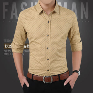 2016 New Spring Men Shirts Casual Slim Fit Long Sleeve Shirt For Male designer Print Camisa Brand Dress Shirt Big Size M~5XL CA3
