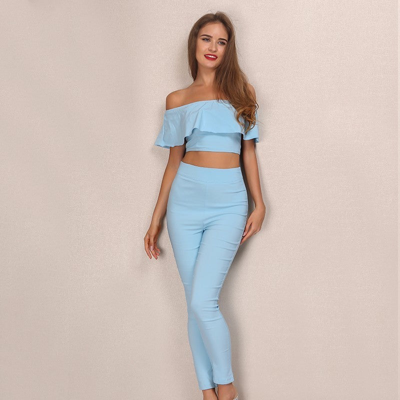 2016 New arrival Off Shoulder Jumpsuit Rompers Slash Neck Short Sleeve Crop Top Slim Women 2 pcs Jumpsuits