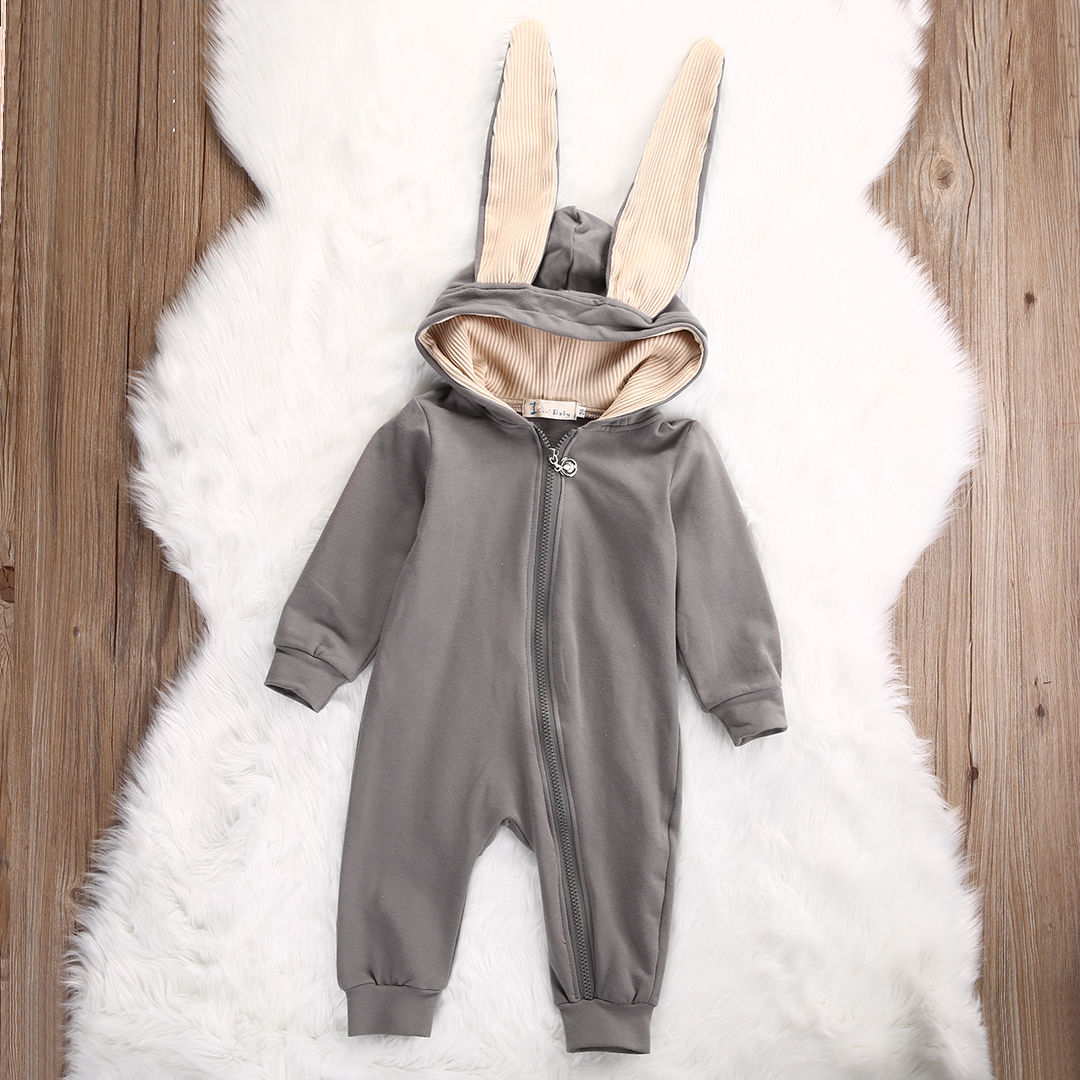 2016 Newborn Infant Baby Girl Boy Clothes Cute 3D Bunny Ear Romper Jumpsuit Playsuit Autumn Winter Warm Bebes Rompers One Piece