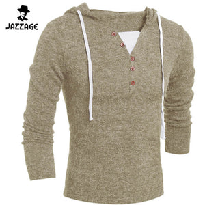 2016 V-Neck Sweaters Stylish Knitted Long Sleeve Hooded Sweater Men Sweater Male Sweaters Pullover-Size XXL DQFA11