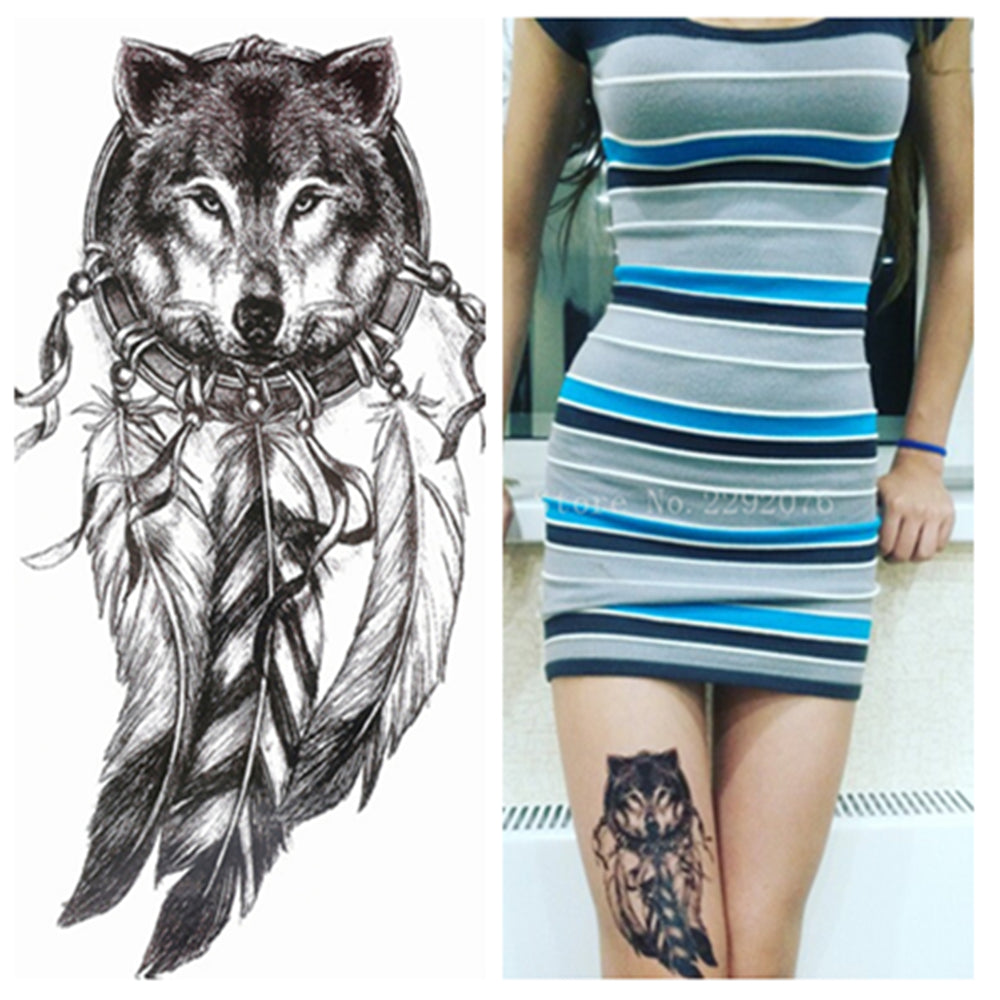2016 Wolf with Feather Cool Beauty Tattoo Waterproof Hot Temporary Tattoo Stickers