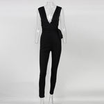 2016 Women Bodysuit Rompers With Belt Club Wear Rompers Womens Jumpsuit Sexy Deep V neck Full Length Bodycon Jumpsu