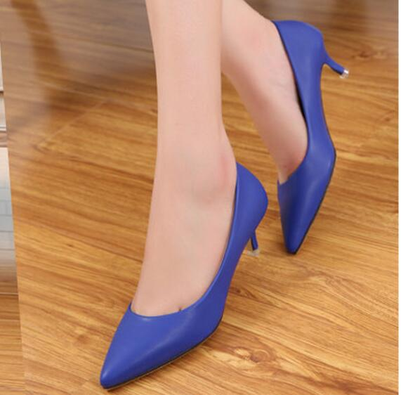 2016 magazine Fashion women pumps 5cm sheepskin women shoes low heels pointed toe comfortable high quality office heels ALF143