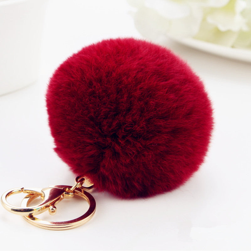 2016 new 10 color trinket Keychain pompons keychains fur Keychain fluffy key chains for cars keyrings trinkets pom pom keychain