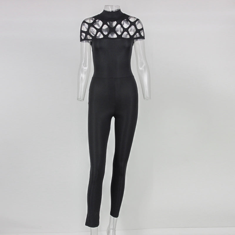 2016 new high neck cut out bandage bodysuits one piece sets wholesale sexy Long Sleeve hollow out shoulder Ladies Jumpsuits