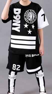 2016 spring summer Adult Kids children's clothing set Costumes black white Star jazz Hip Hop dance Pants & T-shirt Adult suits