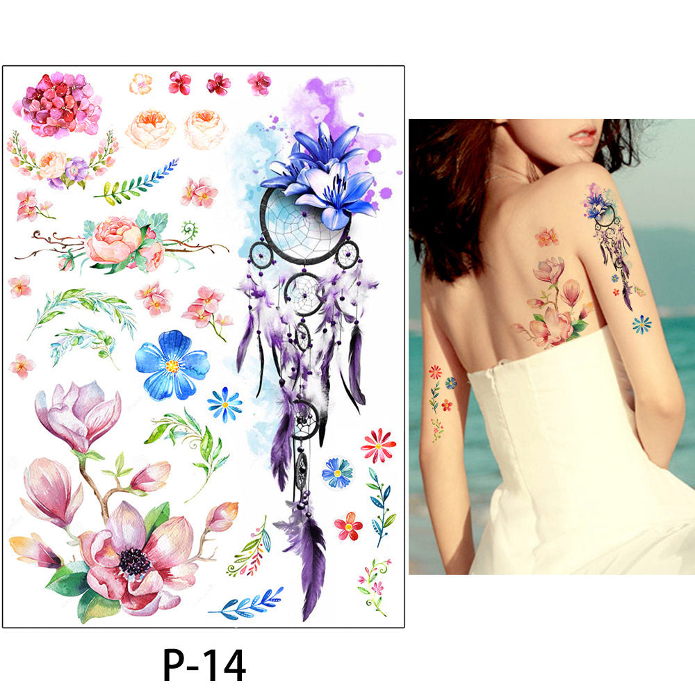 2017 1 Sheet Women Rose Flower Decal Tattoo KM-101 Water Transfer Waterproof Temporary Tattoo Sticker for Beauty Body Makeup Art