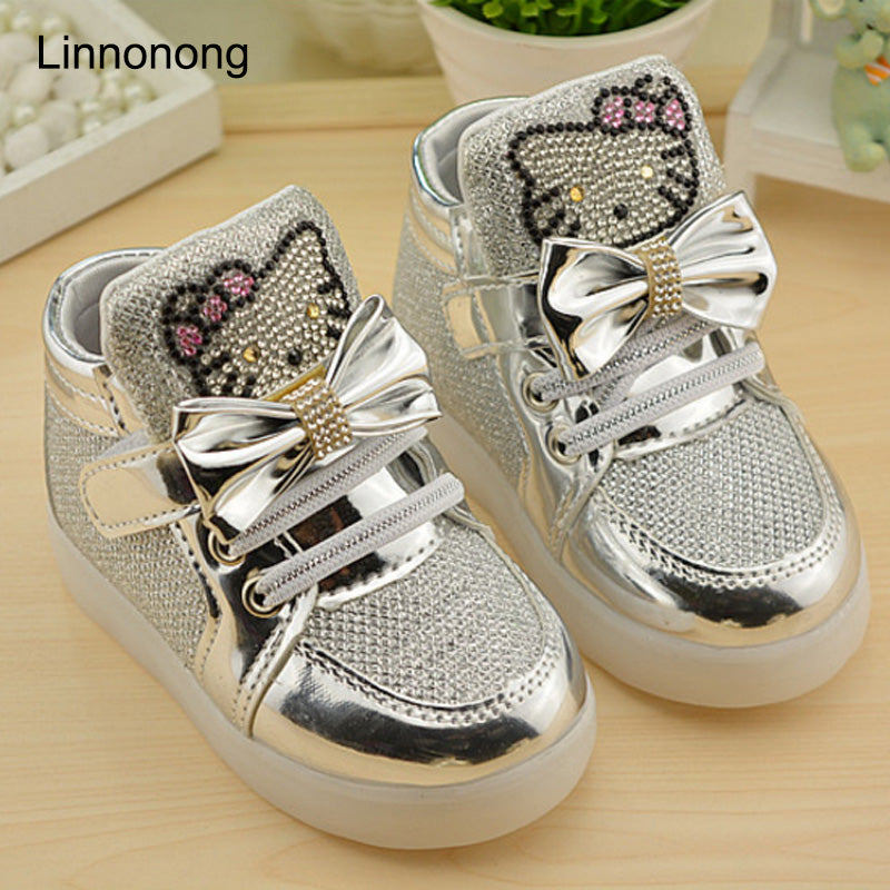 2017 Autumn Children's Sneakers Kids Shoes For Girls Toddler Boy Casual Shoes With LED Light Up Luminous Sneakers tenis infantil