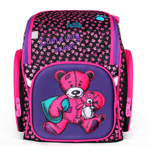 2017 Brand Delune New Girl School Bags 3D Cute Bear Flower Pattern Waterproof Orthopedic Backpack Schoolbag Mochila Infantil