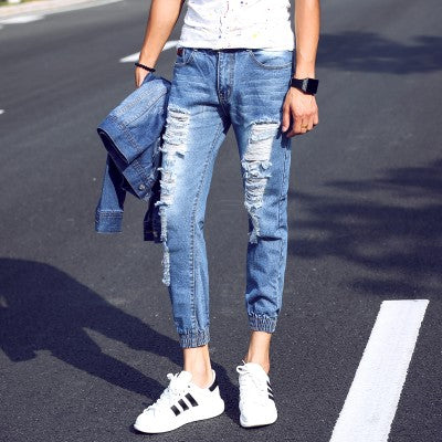 2017 Brand Men Jeans Joggers Pants Summer Casual Light Blue Mens Slim Ripped Jeans Homme Fashion Distressed Denim Biker Jeans