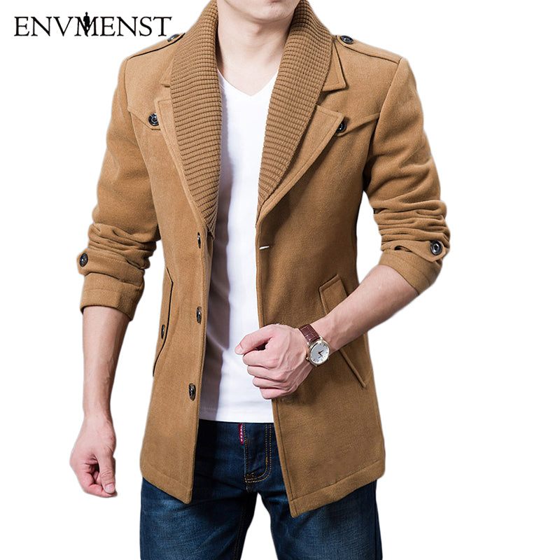 2017 Business Men Casual Warm Coats Size M-3XL High Quality Double Collar Winter Trench Coat Thicken Man Fashion Windbeaker
