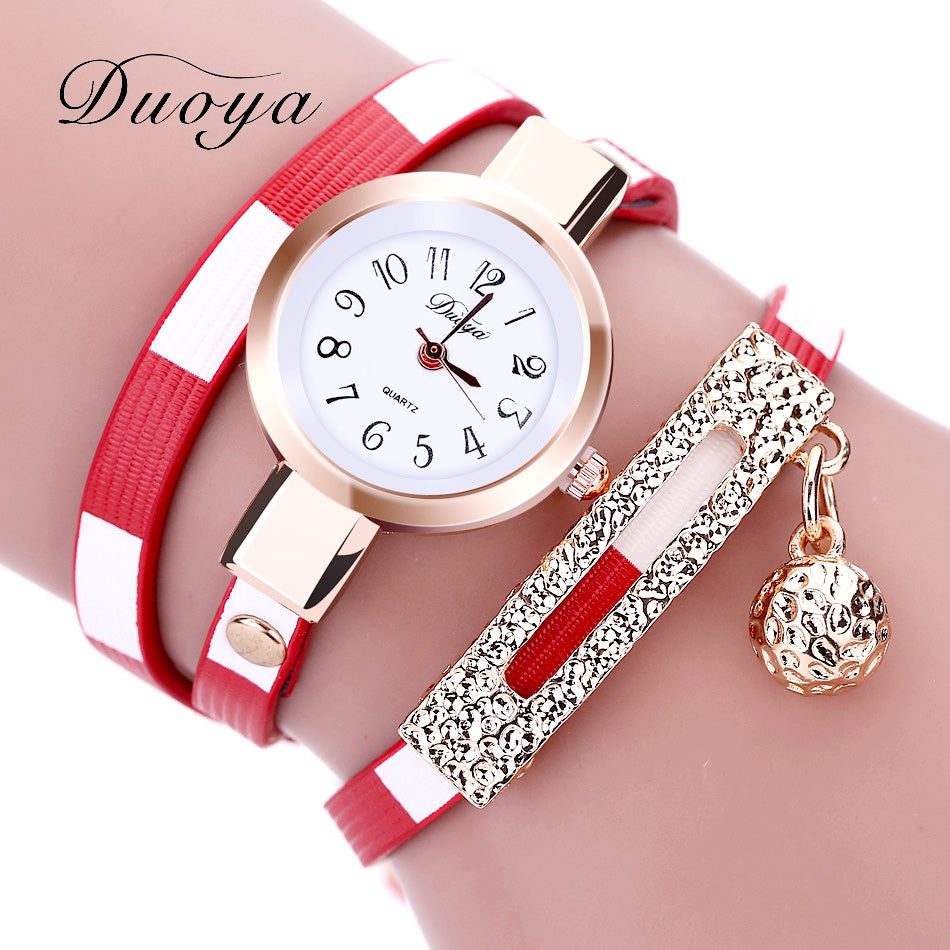 2017 Duoya Watches Women Luxury Gold Women's Bracelet Quartz Wristwatch Ladies Dress Female Leather Vintage Fashion Wristwatch
