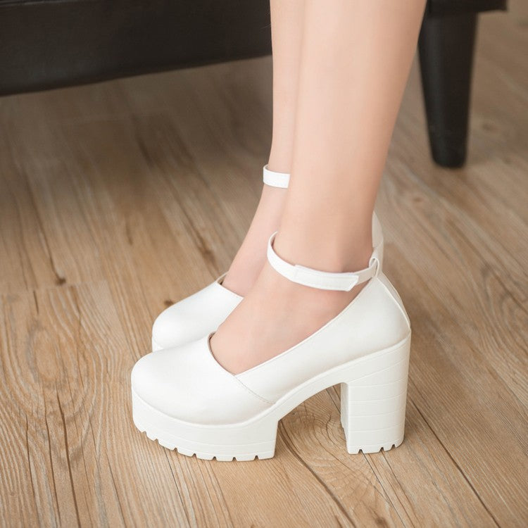 2017 Factory Outlet Big spring ladies footwear casual thick heels platform shoes for girls Europe women hihg heels shoes pumps