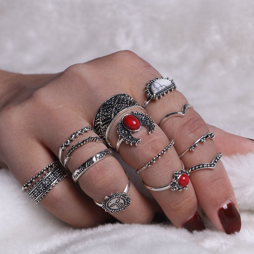 2017 Fashion Bohemia Midi Rings Sets For Women Retro Antique Silver Color Opals Turquoises Knuckle Ring Bagues Femme