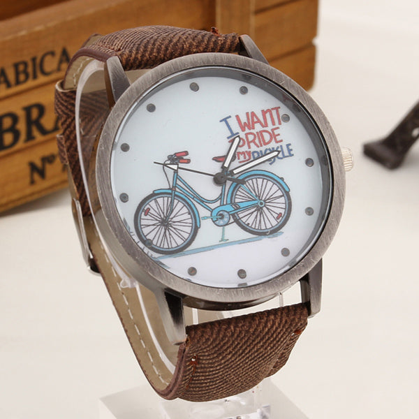 2017 Fashion Brand Quartz Watches Bicycle Pattern Cartoon Watch Women Casual Vintage Leather Girls Kids Wristwatches gifts Clock