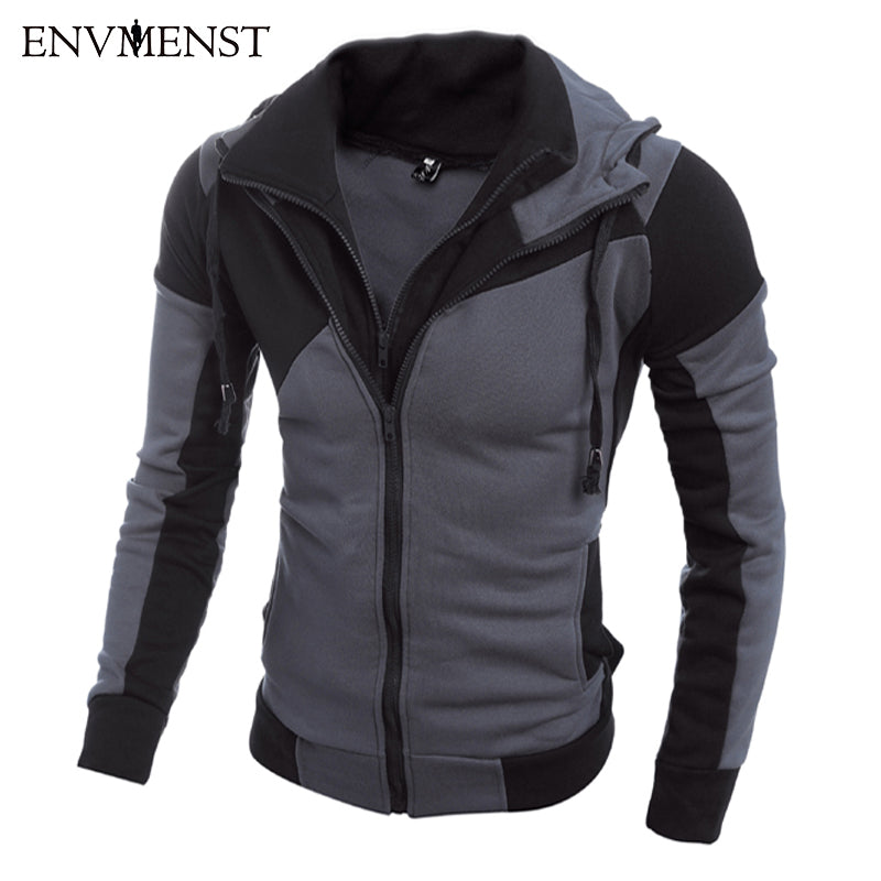 2017 Fashion Brand Sweatshirts Men's Hoodies Patchwork Full Sleeve Slim Men's Sportswear active Men Coat The size M-XXL