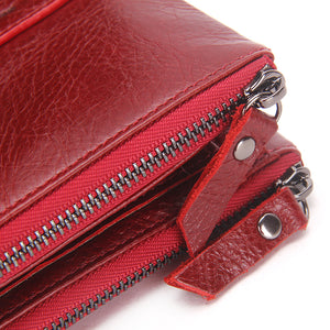 2017 Fashion Genuine Leather Women Wallet Bifold Wallets ID Card Holder Coin Purse With Double Zipper Small Women's Purse Red