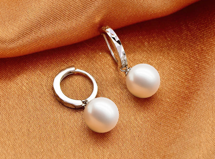 2017 Fashion High Quality Women AAA Pearl Stud Earrings Mirror Design Grade Party Ear Bead Jewelry