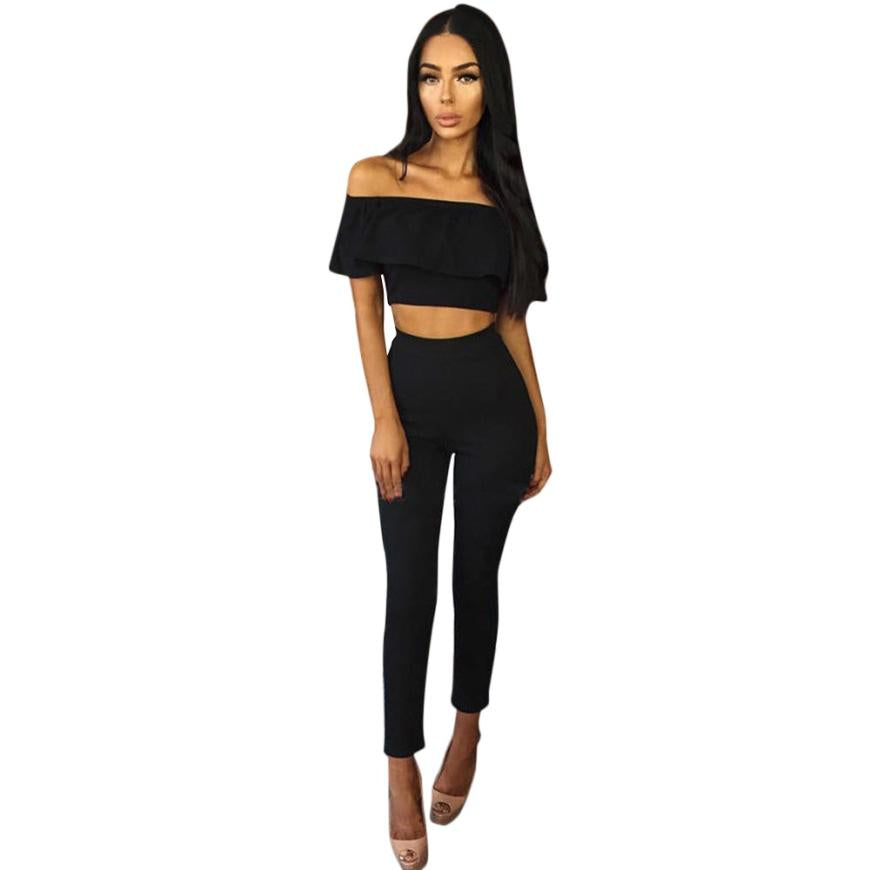 2017 Fashion Jumpsuits Womens 2 Piece Set Crop Top Ladies Sleeveless Cut Out rompers womens jumpsuit combinaison femme &03
