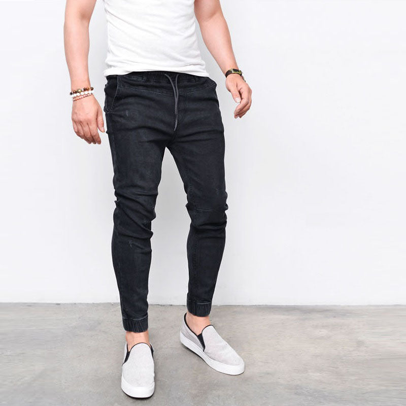 2017 Fashion New Brand Men's Harem Jeans Legging Denim Pants Elastic Feet Pants Men Hip Hop Rap Blue Jeans Skinny Jumpsuit