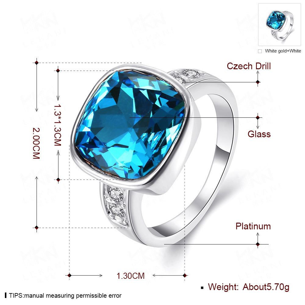 2017 Fashion Quality Gold Color Luxury Exaggerated Wedding Blue Zircon Crystal Rings Female Statement Jewelry Accessories