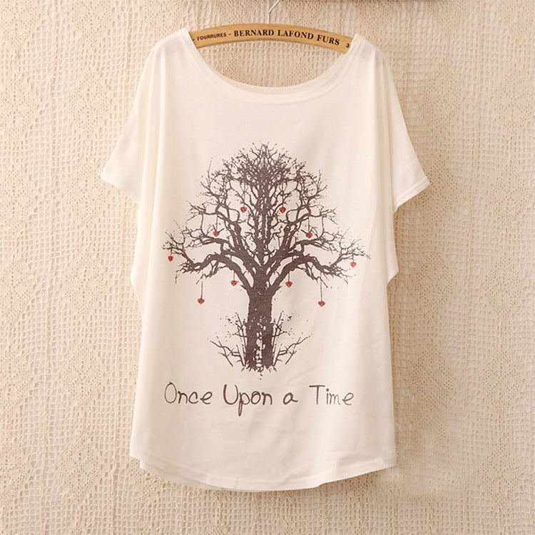 2017 Fashion Women Tops Tees Cute Dream Catcher Printing Cotton T-shirt Women's Short Batwing Sleeve Tshirt on Sale