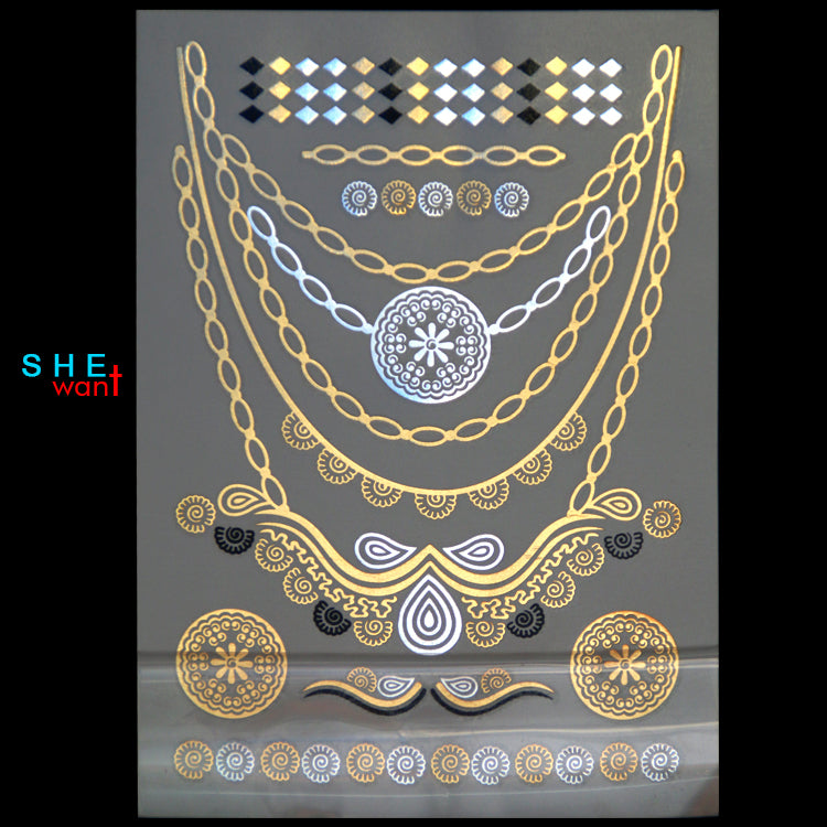 2017 Hot Sale Real Fashion Jewelry Metallic Gold Silver Temporary Tattoos Flash Body Bling Wholesale