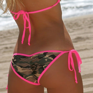 2017 Hot Sale Summer Women Sexy Camouflage Bikini Set Swimwear Swimsuit Lace Up Top Push Up Bra+Panties Sets B2Cshop
