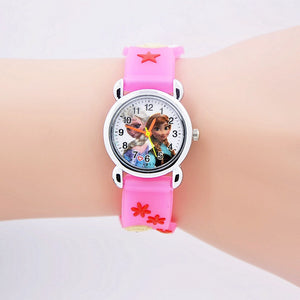 2017 Hot new brand fashion cartoon Children Watch Princess Elsa Anna silicone quartz watches for boy girl best gift