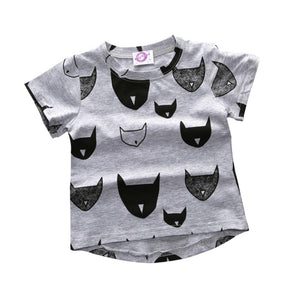 2017 Kacakid New Kids Clothes Boys Girls T Shirt Tops Cotton Jersey Allover Cat Print Baby T shirts Tees