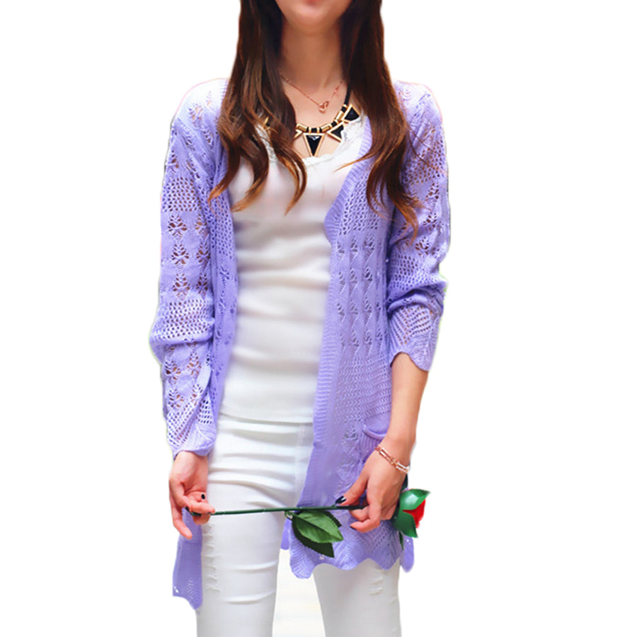 45ecda1c304b 2017 Ladies Crochet Tops Fashion Women Beach Cardigan Spring Summer Hollow  Out Knitted Sweaters Size Rebecas