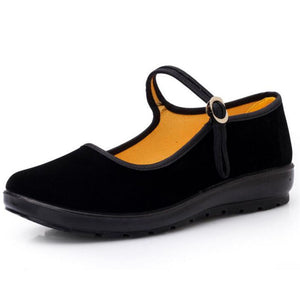 2017 Mary Janes Ladies Flats Buckle Strap Comfortable Women Shoes Round Toe Solid Casual Shoes Plus Size 34~41 Black WFS508