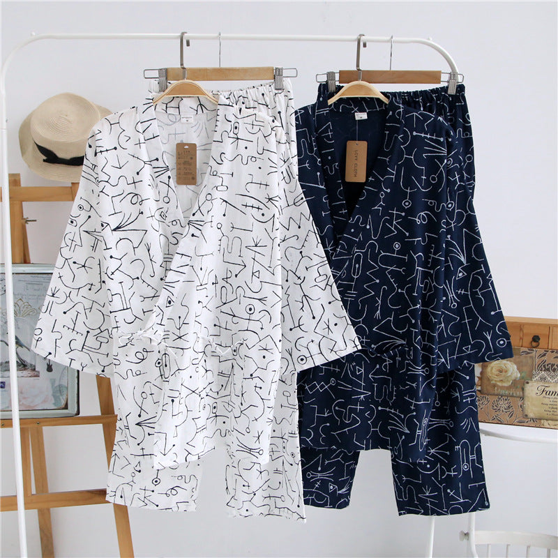 2017 Men Japanese Kimono Pajamas Suit couple female Male Sleepwear Cotton Double Gauze Fabric Loose Nightgown Top & Buttoms Set