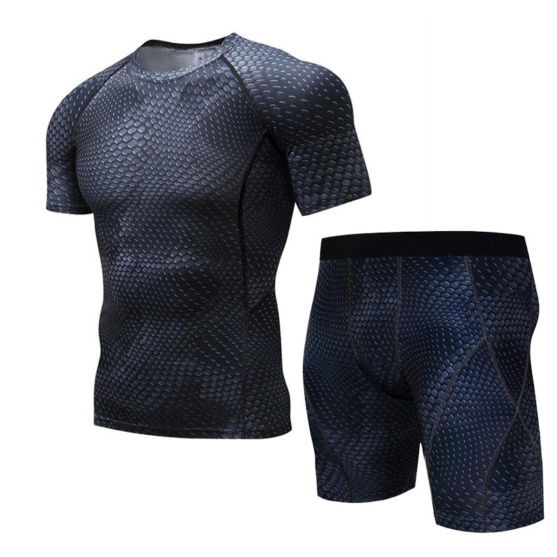 2017 Men's Suit 3d Printed T Shirt Men Short Sleeved T-shirt Compressed Clothes Quick Drying Stretch Five Point Pants Tights