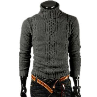 2017 Men's Thick Warm Turtleneck Elasticity Sweater Sweater Irregular Fashion Tide Models Fitted British Shipping M\L\XL\XXL
