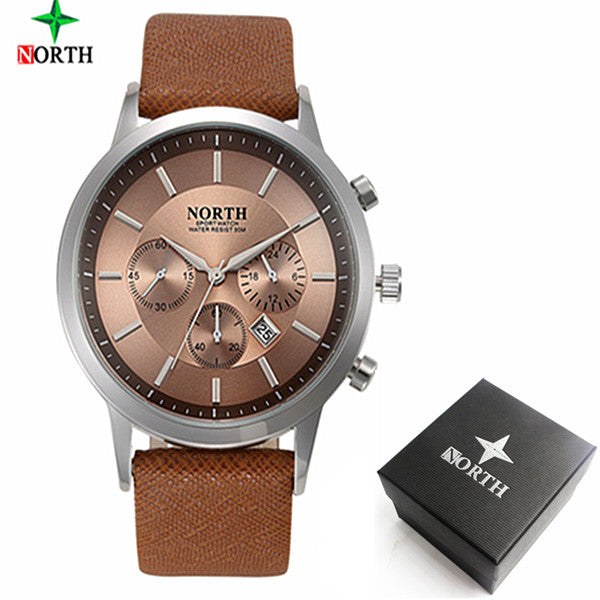 2017 Mens Watches NORTH Brand Luxury Casual Military Quartz Sports Wristwatch Leather Strap Male Clock watch relogio masculino