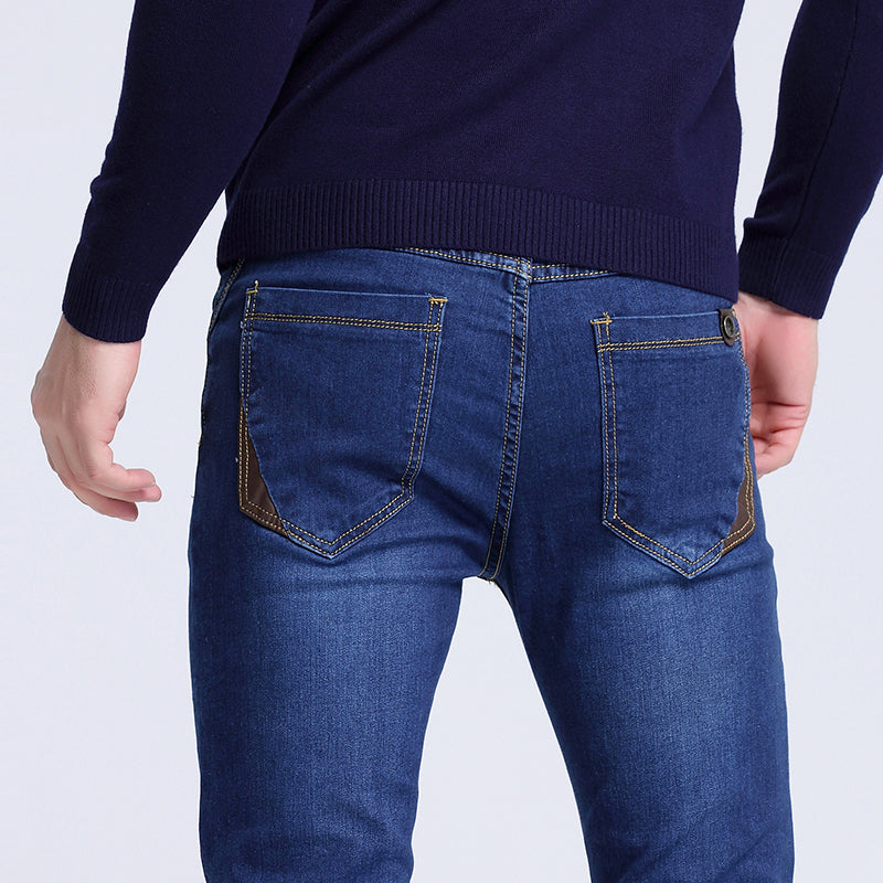 2017 Mens jeans New Fashion Men Casual Jeans Slim Straight High Elasticity Feet Jeans Loose Waist Long Trousers hot sell S6CJ064