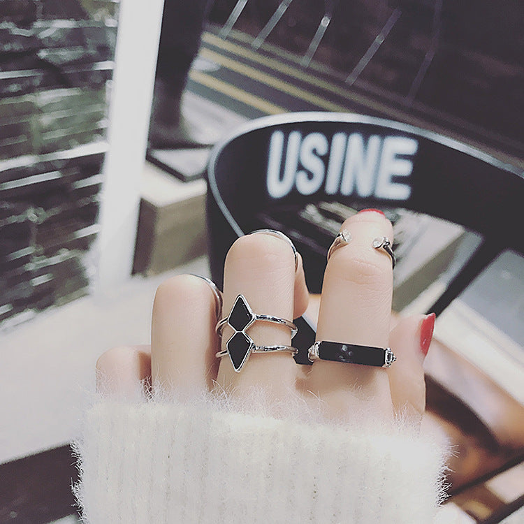 2017 Metallic Geometric Rings Set For Women Finger Accessories Personality Arrow Black Rectangle Adjustment Ring 5 pcs/ lot