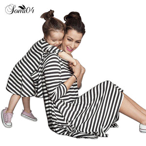 2017 Mother Daughter Dresses Casual Spring Summer Striped Family Look Matching Clothes Cotton Mom And Daughter Dress Clothing