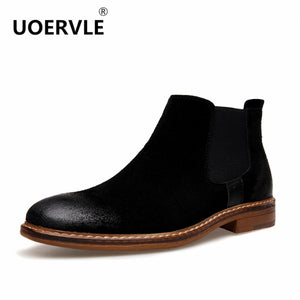 2017 NEW Kanye West Vintage Style Chelsea Boots Top quality Leather Suede Men Shoes Luxury Brand Chelsea Men Boot bota masculina