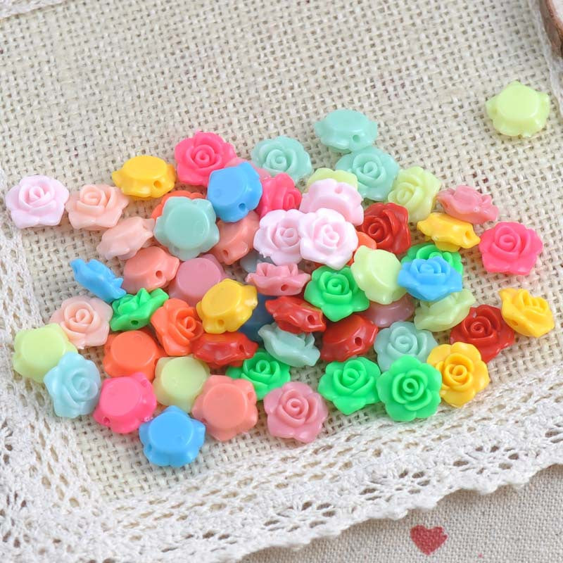 2017 New 100PCs MIX Colors Lovely Flower Shape Acrylic beads flatback Cabochon Scrapbooking Craft DIY 13x13mm M008
