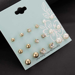 2017 New 9 Pairs/set Crystal Simulated Pearl Stud Earrings Piercing Gold Color Fashion Earrings For Women Bijoux Jewelry Brincos