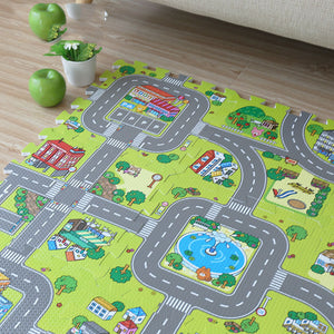 2017 New! 9pcs Baby EVA foam puzzle play floor mat,Education and interlocking tiles and traffic route ground pad (no edge)